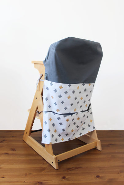 Grey-with-silver-gold-crosses-lg-high-chair-caddy