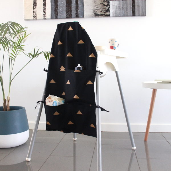black and gold small high chair caddy
