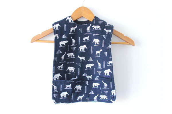 Navy-African-Animals-Large-Bib-Front - hanging -wide