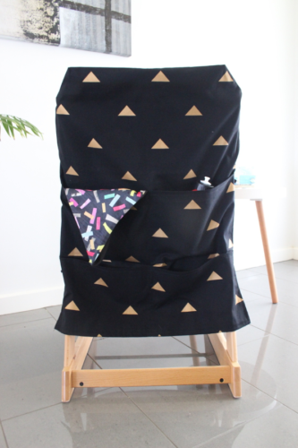 black and gold large high chair caddy