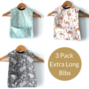 3 pack girls extra long bibs