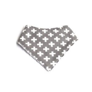 grey with white cross dribble bib