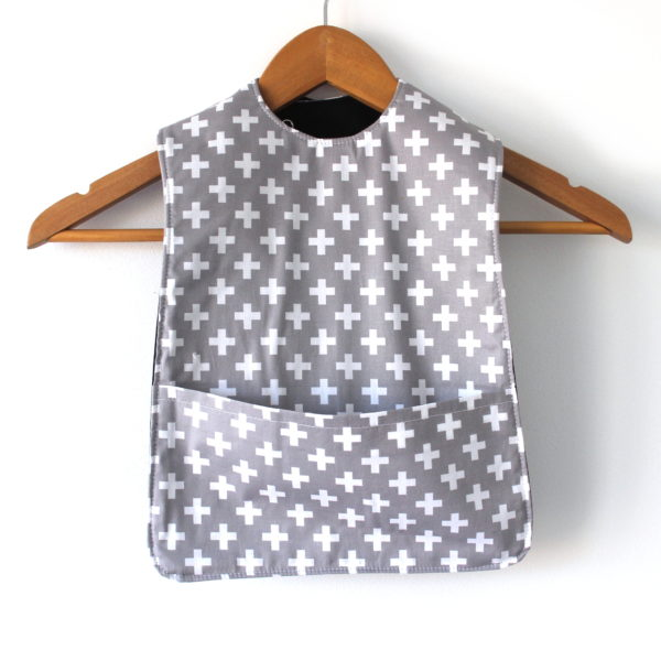 Extra Long Grey with white crosses bib
