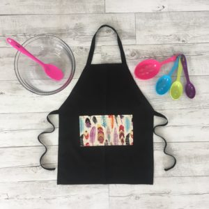 Kids Cooking Apron Feather Print