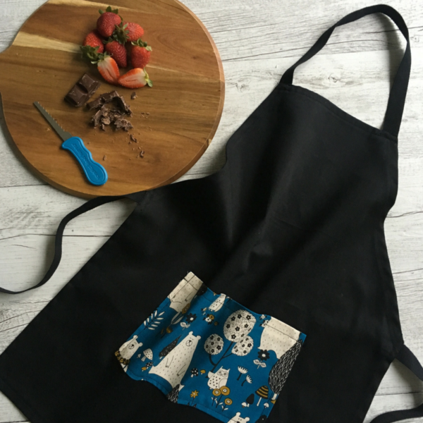 bear print kids cooking apron